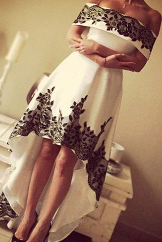 Gorgeous High Low Prom Dresses,Off-the-shoulder Prom Dress,Lace Formal Prom Gown,White And Black Prom Gown,Cheap Long Prom Dresses,N84