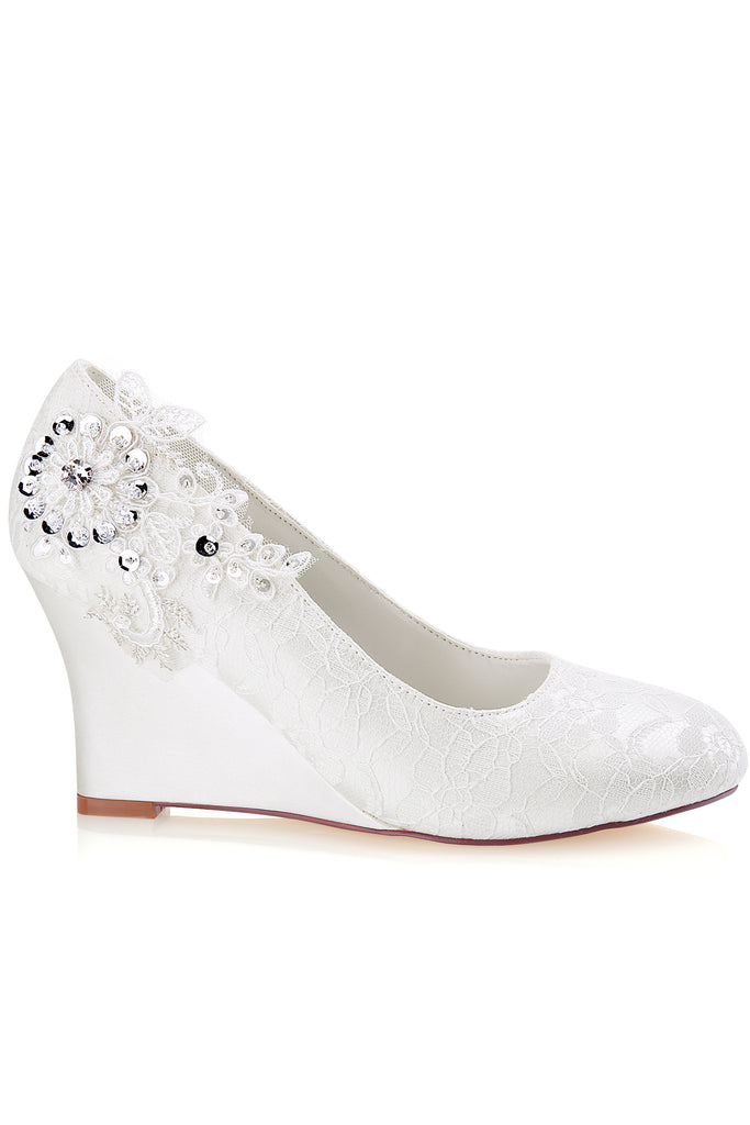 Ivory Wedge Lace Wedding Shoes with Sequins, Wedding Party Shoes, Fashion Woman Shoes L-932