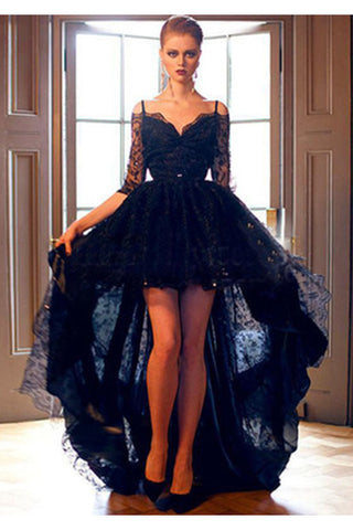Elegant Black Lace High-low Half Sleeves Prom Dress Evening Dress,N03