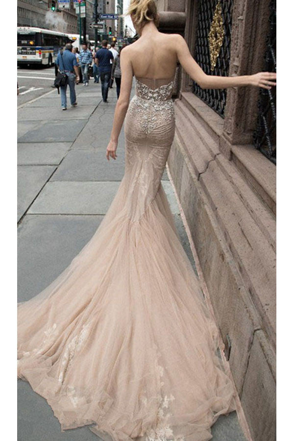 Beaded Illusion Strapless Sweetheart Sexy Party Prom/Evening Dresses N17