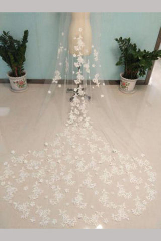 Charming Cathedral Veil 3m long Flowers Lace Tulle Bridal Wedding Veils,V007