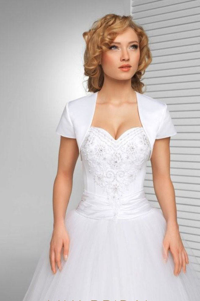 Simple White Short Sleeve Satin Weeding Jacket, Cheap Bridal Jacket