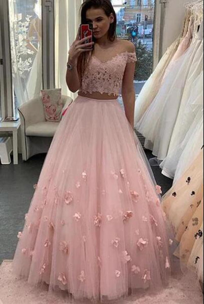 Two Piece Floor Length Tulle Prom Dress with Lace, Long Off the Shoulder Dress with Flower N2096