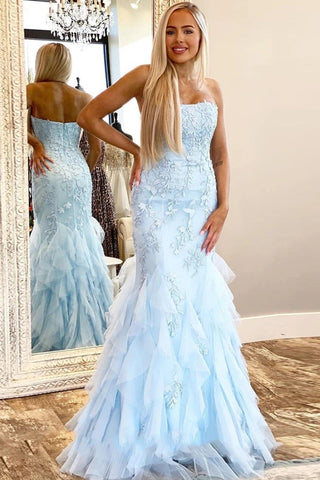 Light Blue Mermaid Lace Appliques Prom Dress with Ruffles, Strapless Long Evening Dress N2645