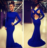 Long Sleeves Backless White Mermaid Prom Dress,High Neck Royal Blue Graduation Dress N44