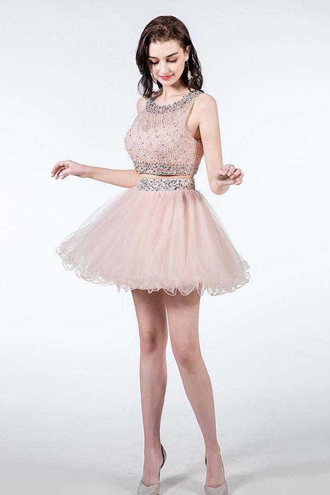 Sparkly Two Piece Homecoming Dresses Short Beaded Tulle Prom Gowns with Sequins N2011