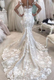 Stunning Long Sleeves Appliqued Mermaid Wedding Dress with Long Train N1797