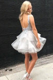 Silver Gray V Neck Sleeveless Tulle Homecoming Dress, Mini Tiered Prom Dress with Appliques N980
