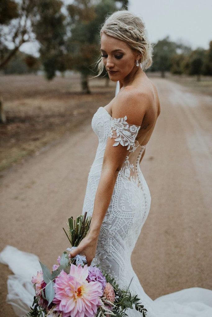 Stunning Mermaid Tulle Bohemian Wedding Dresses Off the Shoulder Lace Beading Bridal Gowns N1517