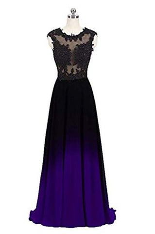 Black and Purple Sleeveless Ombre Prom Dresses, A Line Lace Appliques Evening Dresses N1677