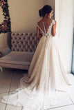 A-Line Scalloped-Edge Lace Wedding Dress with Sheer Back, Ivory Tulle Bridal Dress N1766