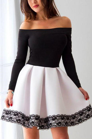 White and Black Off Shoulder Homecoming Dress with Lace, Short Prom Dress with Sleeve N1659