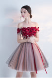 Off-the-shoulder Cocktail Dress,Homecoming Dress With Red Appliques,Mini Dress With Belt,N121