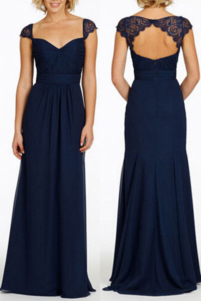 Navy Blue Long Open Back Cap Sleeve Chiffon Bridesmaid Dress,N08