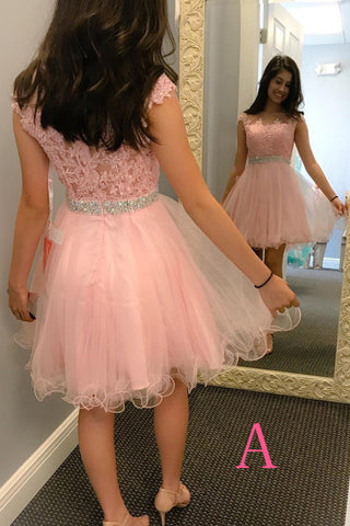 Pink Homecoming Dress,Short Tulle Prom Dresses With Bead Waist,Lace Appliques Graduation Dress