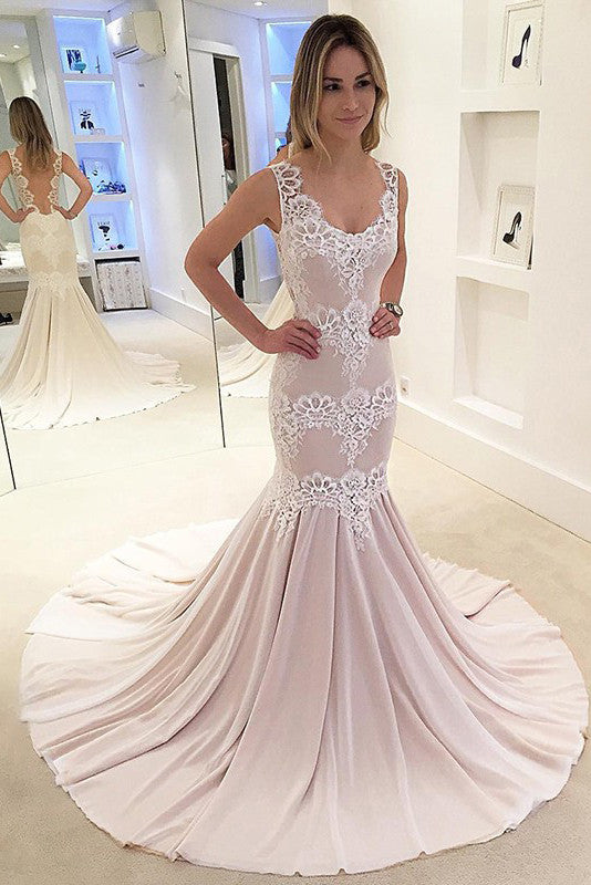 Mermaid Sweep Train Chiffon Backless Wedding Dresses With Appliques