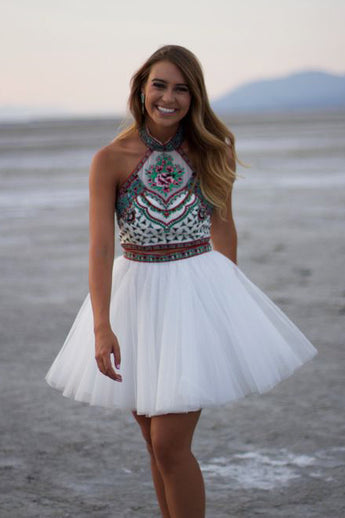 White A-line High Neck Two Piece Mini Homecoming Dress with Embroidery,N354