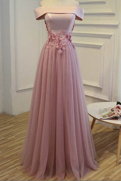 Charming Off-the-shoulder Tulle Appliques Prom Dresses,Long Prom Gown,Formal Dress Long,N165