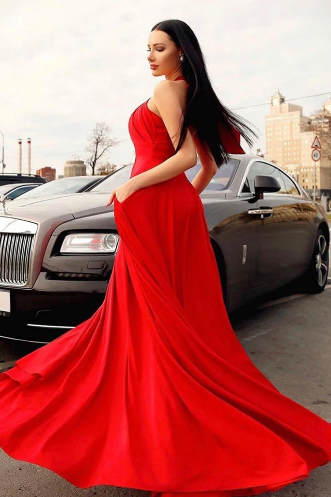 Stylish Red Halter Long Prom Dress, Floor Length Sleeveless Evening Dresses with Pockets N2619