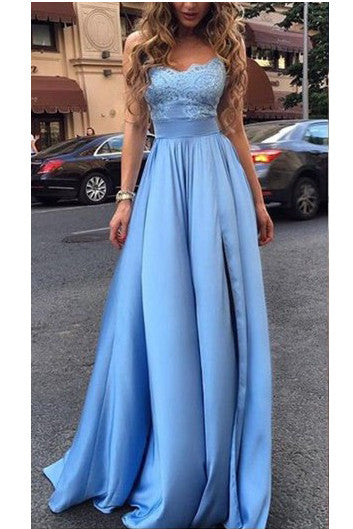 Sexy Evening Dress,Prom Dress With Ruffles,Appliques Prom Gown,Long Prom Dress,Blue Evening Dresses,Charming Prom Dress, Formal Dresses 2017