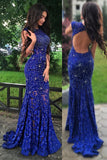 Royal Blue Jewel Sweep Train Lace Backless Mermaid Prom Dress with Beading N36