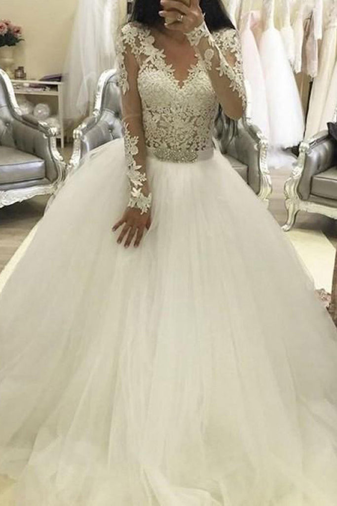Ball Gown Long Sleeves V Neck Tulle Wedding Dress Princess Long Bridal Dress With Lace N2081 Simibridaldresses,Spring Wedding Guest Dresses 2020