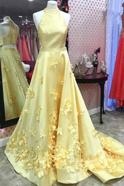 A Line Formal Yellow Halter Handmade Flowers Prom Dresses with Sweep Train N1348