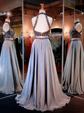 Two Pieces A-line Sparkle High Neck Beading Long Prom/Evening Dress N13