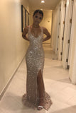 Champagne Gold Sparkly Sequins Mermaid Prom Dress, V Neck Sleeveless Long Formal Dresses N1620