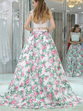 2018 Sexy Princess Two Piece Cap Sleeves White Lace Floral Long Prom Dresses,N593