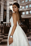 A-Line Spaghetti Straps Backless Ivory Lace Homecoming Dress with Appliques N979