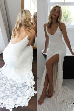 Spaghetti Straps Lace Wedding Dress with Side Slit, Long Backless Lace Bridal Dresses