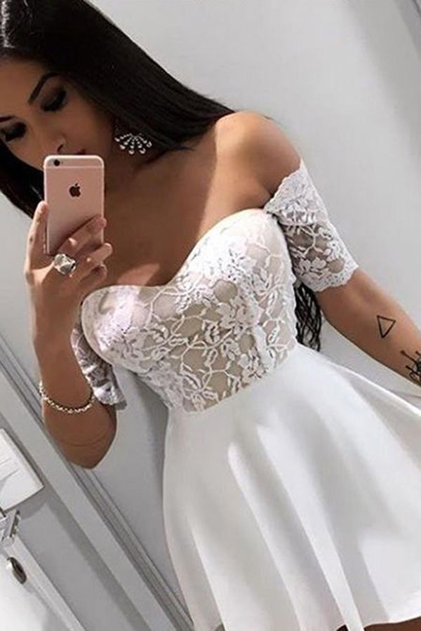 Mini Off Shoulder Short Sleeves Homecoming Dress with Lace, Short Cocktail Dress