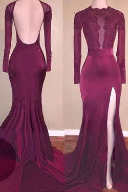 Mermaid Long Sleeves Applique Backless Prom Dresses, Long Split Evening Dresses N1475