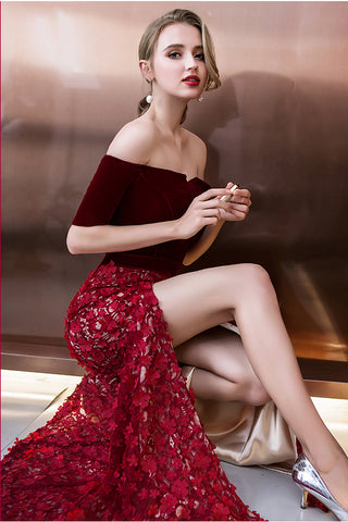 Burgundy Off Shoulder Half Sleeve Long Evening Dress with Side Slit, Mermaid Prom Dress