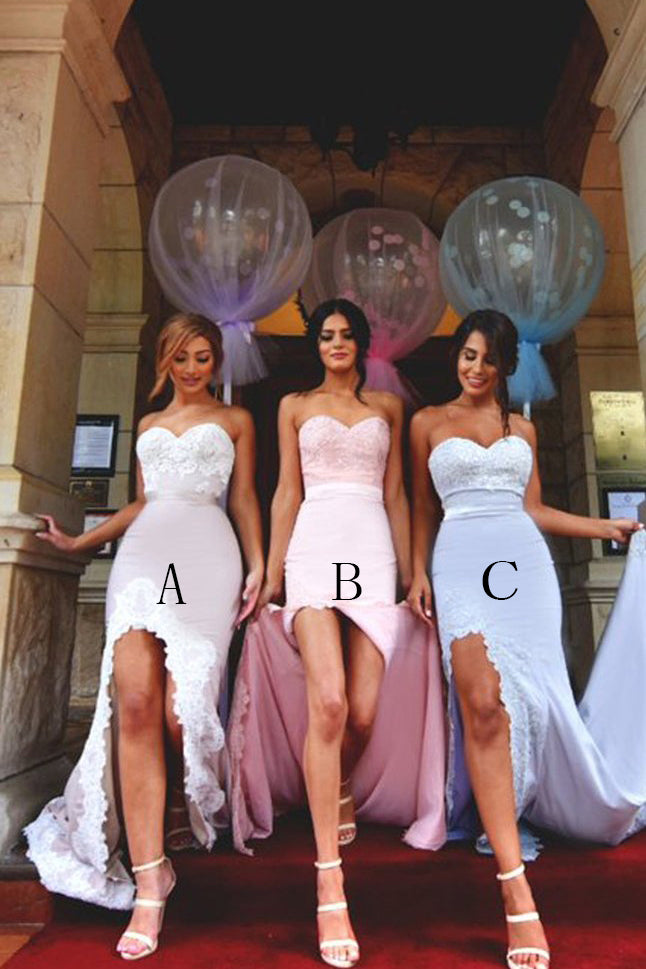 Mermaid Long Bridesmaid Dress with Slit Strapless Jersey Prom Gown