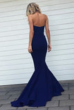 Navy Blue Mermaid Sweetheart Strapless Sweep Train Bridesmaid Dress With Pleats,N622