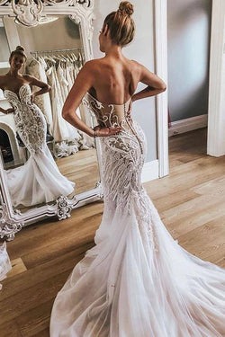Gorgeous Strapless Tulle Mermaid Wedding Dresses, Long Bridal Dress with Appliques N1791