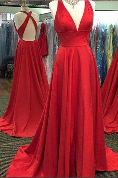 Sexy V-Neck Sleeveless Red Prom Gown with Side Slit,Sweep Train Split Red Dresses,N691