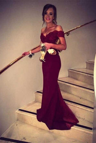 Mermaid Burgundy Off-the-Shoulder Chiffon Lace Prom/Evening Dress N02