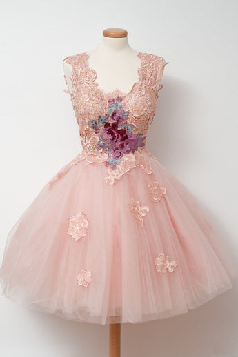 Glamorous A-Line Homecoming Dress,V-Neck Pink Cocktail Dress,Tulle Homecoming Dress with Appliques,Appliqued Short Prom Dresses,Sleeveless Homecoming Gown,N119