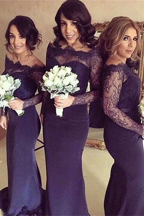 Sexy Long Sleeves Off-the-Shoulder Long Bridesmaid Dress with Lace and Sweep Train,N567