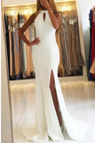 Unique Open Back Sleeveless Prom Dress with Train, Mermaid Formal Evening Dress N1169