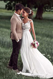 Romantic Off White Sheer Neck Cap Sleeve Chiffon Bridal Dress with Lace Applique,N653