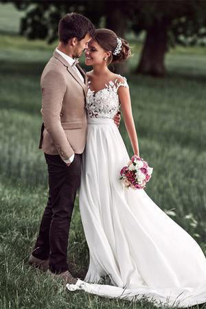 Romantic Off White Sheer Neck Chiffon Bridal Dress with Lace ...