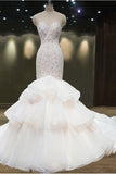 Gorgeous Sheer Neck Mermaid Sleeveless Open Back Wedding Dress,Bridal Gown,N580