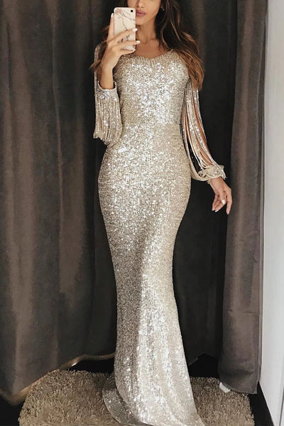 Unique Mermaid Evening Dress with Tassel Sleeve, Sequin Maxi Prom Dress N2325