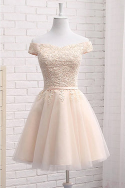 A Line Off Shoulder Tulle Short Homecoming Dress with Appliques, Mini Sweet 16 Dress