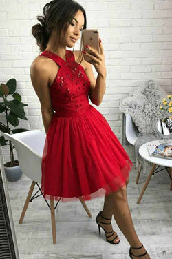 11a85106017ae Cute Red Tulle Short Homecoming Dress with Beading, A Line Sweetheart Short  Prom Dress N1754