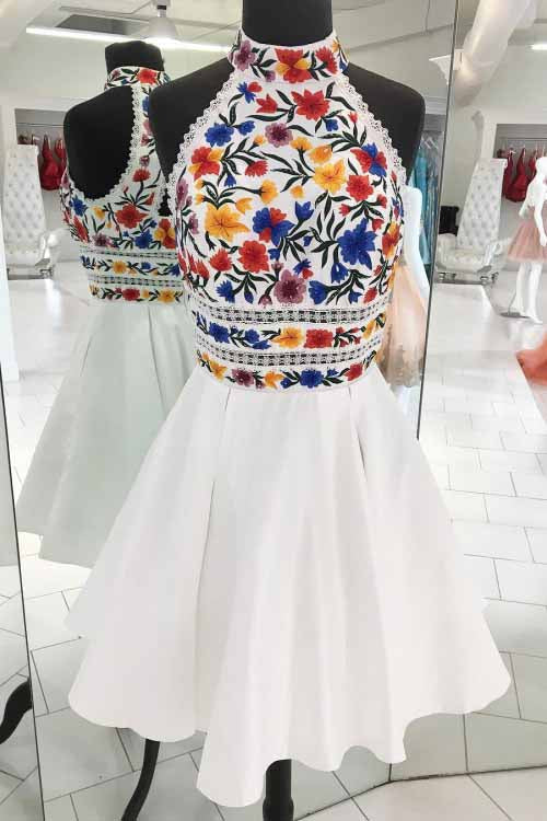 Unique White High Neck Short Prom Dresses, A Line Sleeveless Short Homecoming Dress N1718